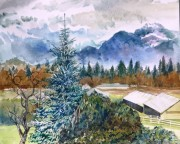 Golden ears Mountain, from Haney, BC water colour 24 x 18in