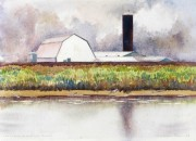 Grain Silo, Alouette river BC water colour  10 x 14in - Copy