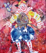 Zippo the Clown mixed media 12 x 10in
