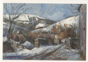 Bran valley under snow acrylic - greetings card