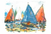 Brownsea  - Start of the Regatta lithograph -  postcard