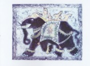 The maharani`s elephant lithograph - greetings card