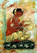 Maiden offering Food, Ajanta cave painting, acrylic 22 x 15in