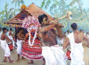 fanfare for ritual dance,Tellicheri, Kerala acrylic 18 x 24in