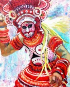 Furious Goddess, Kerala Theyam Festival acrylic 20 x 16in