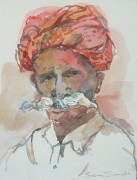 indian watchman water colour 16 x 14in