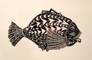 lordly fish linocut