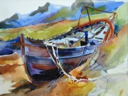 Abandoned Boat, Pwlldhrobain, Argyll 14 x18in, water colour