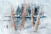 Loch Ossian under snow water colour  15 x 19 in