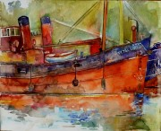 vital spark in crinan basin water  colour16 x 18in